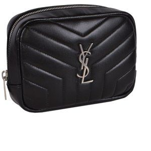 New Saint Laurent YSL Quilted Leather Cosmetic Bag